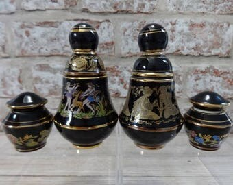 Bardaco 2 empty perfume bottles and 2 small jars Greek patterned