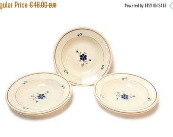 10% OFF Saint AMAND LES Eaux's ceramic soup plates with blue floral motive red border.