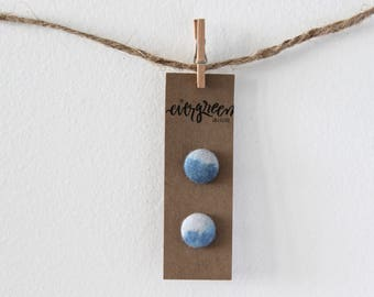 Blue Seas Hand Dyed Fabric Button Earrings