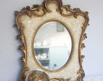 Vintage Baroque Style Hanging Mirror, Ornate Cream and Gold Frame, 'Passe-Partout' Frame, Home Decor