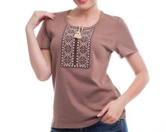 Ukrainian embroidered  T-shirt ( blouse, vyshyvanka,)short sleeve in nice  coffee colors