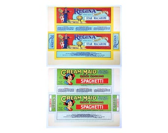 2 Food Label Unused Advertising Regina Star Macaroni Cream Maid Spaghetti Pasta