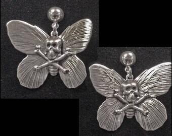 death head moth earrings - butterfly - skull