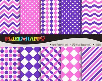 70% OFF Purple And Pink Digital Papers, Chevron/Polka Dot/Wave/Stripe Pattern Graphics, Personal & Small Commercial Use, Instant Download