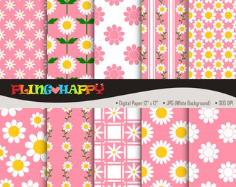 70% OFF Pink Daisy Digital Papers, Pink Daisy Digital Papers Graphics, Personal & Small Commercial Use, Instant Download