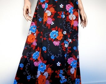 1960's Floral maxi Skirt - Size 8