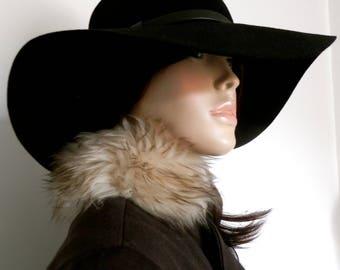 Original 1960's Parisienne Design Brown Wool Mix Coat With Sheepskin Collar & Cuffs -Size S/M