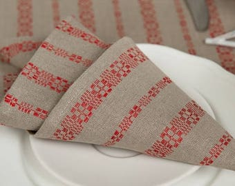 Christmas Linen/Cotton 4 Napkins, Linen Napkins, Red, Grey Linen Napkins, Table Decoration, Dining Table Napkins, Christmas Gift