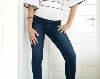 White wide sleeve blouse with the belt, blouses for women, ladies blouses, spring summer outfit