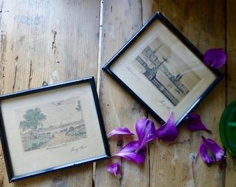 Two Framed Signed Prints of Hamburg C.1920s