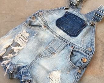6-9m Baby Boy Custom Denim Overalls