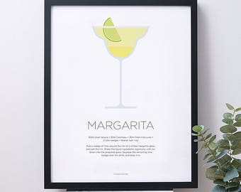 Margarita cocktail print – Cocktail art – Cocktail recipe – Cocktails – Drinks print – Tequila – Kitchen poster art – Christmas Gifts