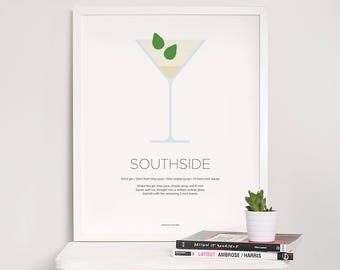 Southside cocktail print – Cocktail art – Cocktail recipe – Gin print – Drinks print – Gin gifts – Cocktails – Kitchen art – Kitchen poster