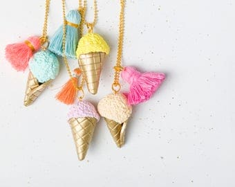 Colorful necklace, Ice cream necklace, Bright necklace, Tassel necklace, Hipster necklace, Statement jewelry, Funky necklace, Clay jewelry