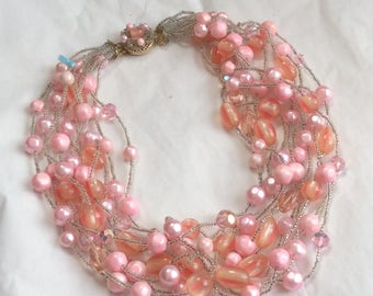 Gorgeous summery 10 strand vintage necklace - pinks and oranges