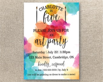 Art Party Invitation - Art Birthday Party Invitation - Child's Party Invitation - Printable Party Invitation - Painting Party Invite