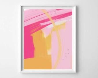 Pink and Yellow Modern Abstract Printable, modern abstract print, pretty abstract Art, modern girls room decor, home decor