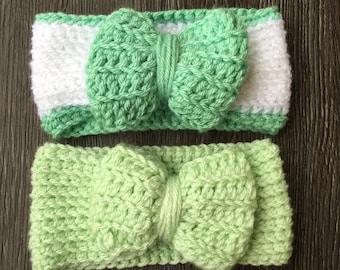 Springtime headband set, earwarmers, baby gift, seasponge green, baby photos, set of 2, bow, crochet, baby shower, green, newborn, greens