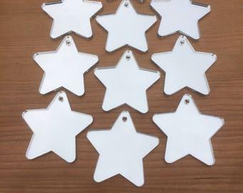 Mirrored Acrylic Star Decorations.