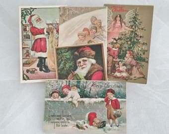 Merrimack Victorian Period Reproduction Christmas Postcards Set of 5 // Vintage Reproduction Christmas Postcards