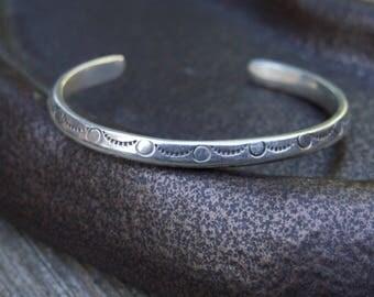 Sterling Silver Stamped Cuff Bracelet Unmarked