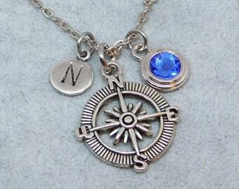 Silver Compass necklace, swarovski birthstone, initial necklace, birthstone necklace