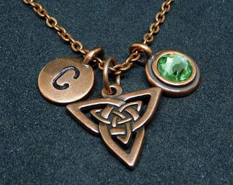 Celtic Triniy Double  knot necklace, swarovski birthstone, initial necklace, birthstone necklace, initial charm