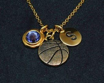 Golden Basketball necklace, swarovski birthstone, initial necklace, birthstone necklace