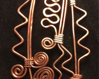 """2""""x3"""" Handmade Copper and sterling silver wire wrapped pendant"""
