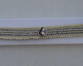 bracelet in beige fabric cuiret chunk