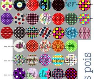 60 cabochons 25mm, dots pattern digital prints