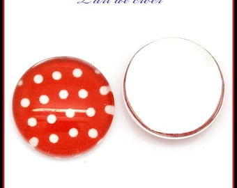 10 x white dots on red glass cabochon 12mm