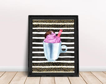Food Art | Ice Cream Art, Milkshake Poster, Dessert Art, Watercolor Food, Immediate Download, Printable Poster, Sweet Treat Art, Yogurt Art