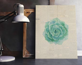 Single Flower Print | Green Bouquet Art, Floral Bouquet Print, Single Flower Art, Floral Newspaper, Newspaper Wall Art, Flower Newspaper