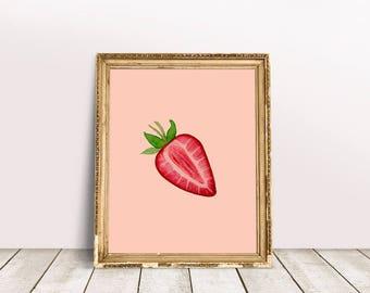 Kitchen Fruit Poster   Strawberry Fruit Art, Fruit Wall Poster, Strawberry Food Art, Vegan Fruit Gift, Summer Fruit Gift, Foodie Fruit Gift