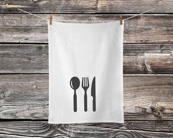 Cutlery - Flour Sack - Tea Towel - Kitchen Decor - Farmhouse Style - Modern Farmhouse - Cotton Towel - Country Kitchen