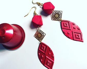 Earrings red leaf earrings capsule Nespresso coffee