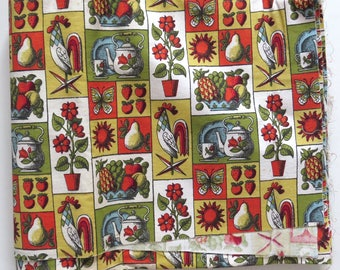 "Vintage 60s Kitchen Decor Fabric  34"" x 6.2 yds"
