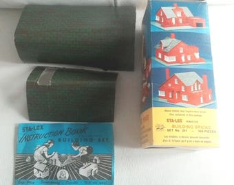 Vintage 1960's STA-LOX Miniature Building Brick Kit. Set No. 301 with original box and instructions