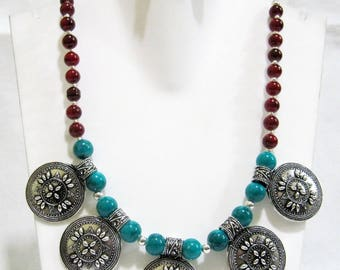 Beautiful Silver Oxidized Beaded Necklace With Antique Metal Finding , Great Combination Red Coral and Turquoise Beads , Nepalese Necklace.