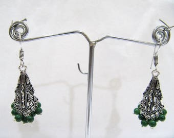 Beautiful Indian Earrings , Silver Oxidized Dangling Earrings With Green Beads , Jhumka / Jhumki Dangle Drop Earrings , Traditional Jewelry.