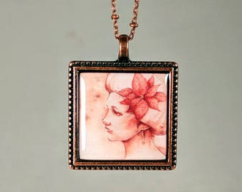 "Woman with Poinsettia Pendant and Chain Watercolor Reproduction ""Tidings of Comfort"" Copper Necklace"