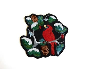 Applied shield embroidery patch fusible cardinal bird snow