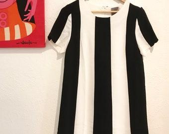 60s Mod Style Vertical Stripe Black & White Dress with Scallop Hem