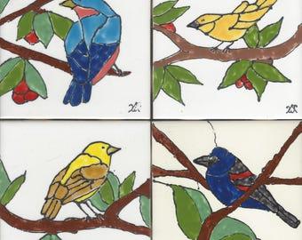 Backyard Birds Set #2 Hand Painted Kiln Fired Decorative Ceramic Wall Art Tile 4.5 x 4.5