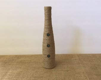 Jute Wrapped Wine Bottle With Metal and Green Gem Embellishments, Jute Wrapped Wine Bottle, Jute Wine Bottle, Jute-Wrapped Bottle