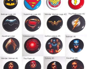 "Justice League Superhero Buttons 1.25"", Choose a Set, Wonder Woman, Batman Ben Affleck, Superman, Flash Ezra Miller, Cyborg, Aquaman"