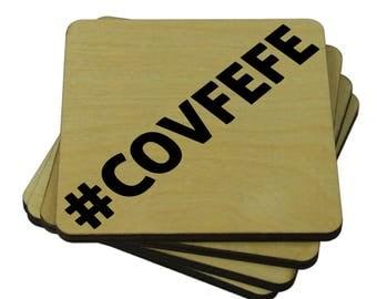 COVFEFE Drink Coasters, #COVFEFE, Set of 4 Wood Drink Coasters