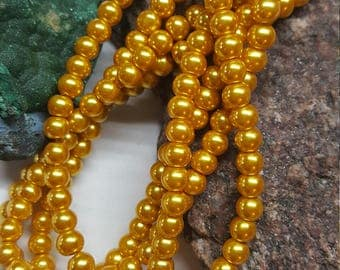 Gold Glass Pearls, 6mm, 30 beads.