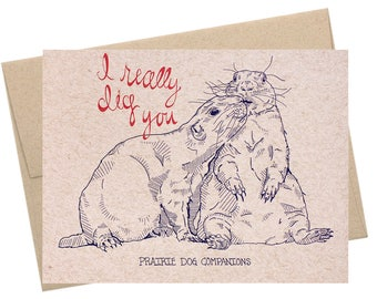 Prairie Dog Companions, Love Card, Friendship Card, Prairie Dogs, Woodland Animals, National Parks Collection, Forest Animals, Kraft Paper